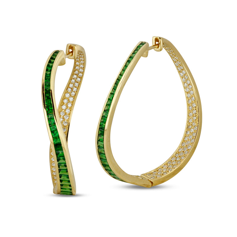 Talay Wave Twist Green Tsavorite Hoop Earrings