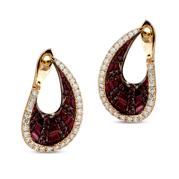 Talay Wave Front-Back Ruby Hoop Earrings