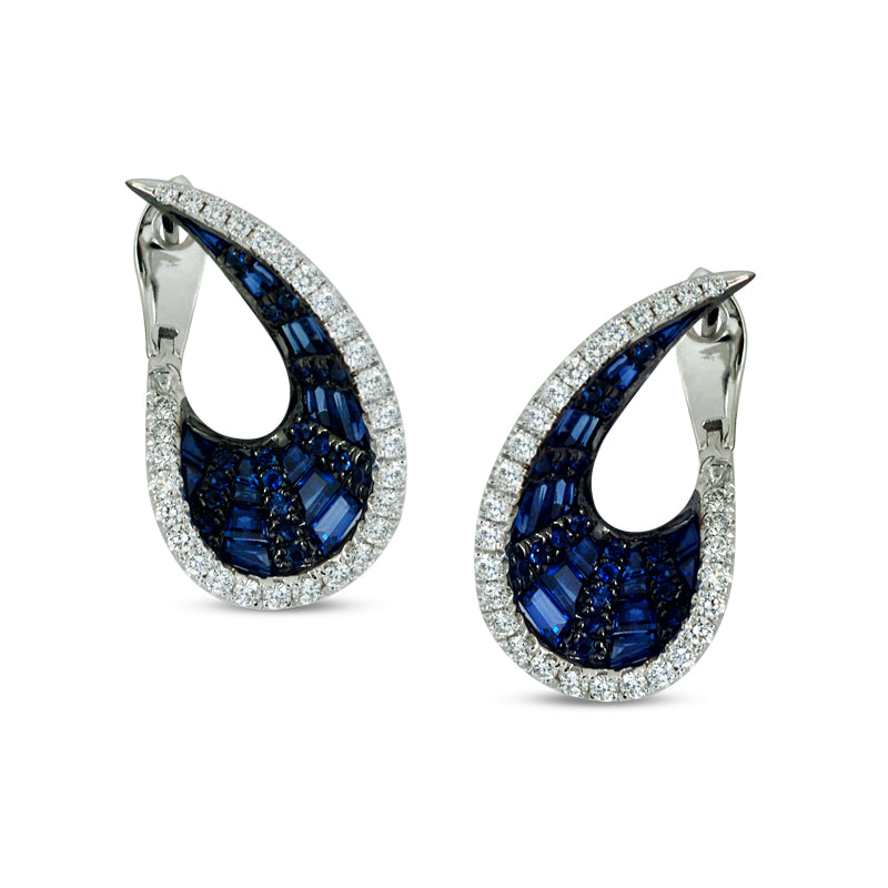 Talay Wave Front-Back Blue Sapphire Hoop Earrings