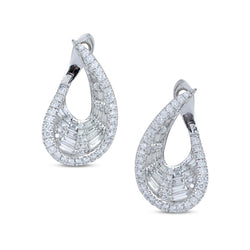 Talay Wave Front-Back Diamond Hoop Earrings