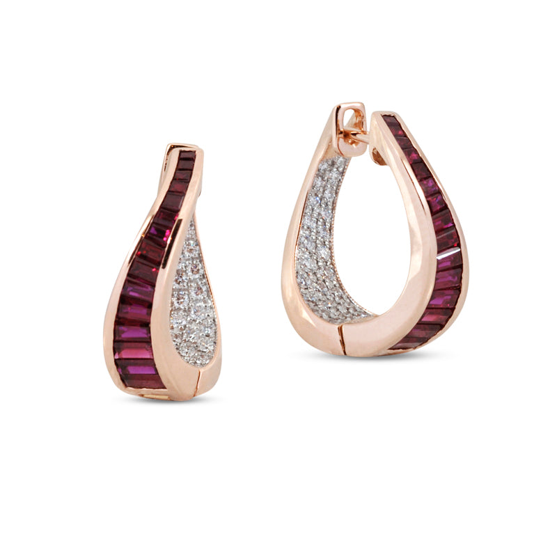 Talay Wave Small Ruby Twist Hoop Earrings