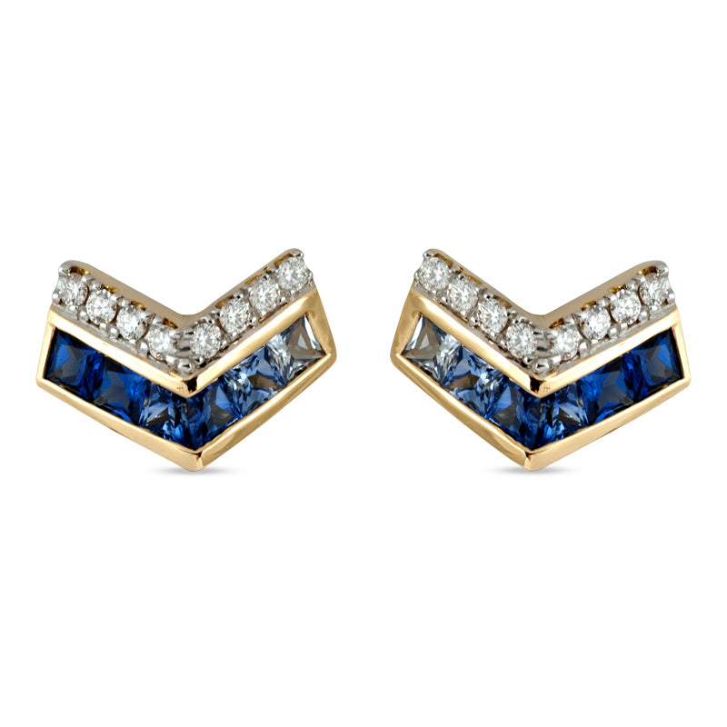 Origami Ziggy Mini Blue Sapphire Stud Earrings