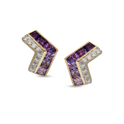 Origami Ziggy Mini Purple Sapphire Stud Earrings