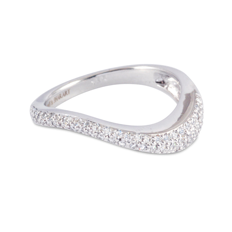 Talay Flow Wave White Gold Diamond Stacking Ring