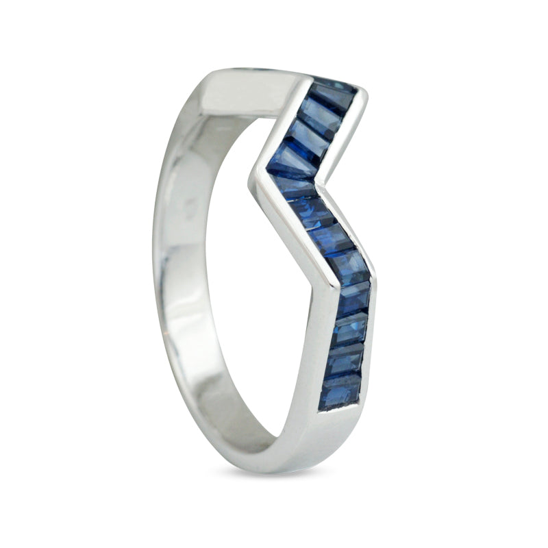 Origami Ziggy Line Blue Sapphire Stacking Ring