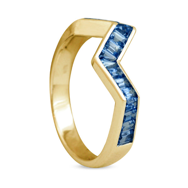 Origami Ziggy Line Light Blue Sapphire Stacking Ring