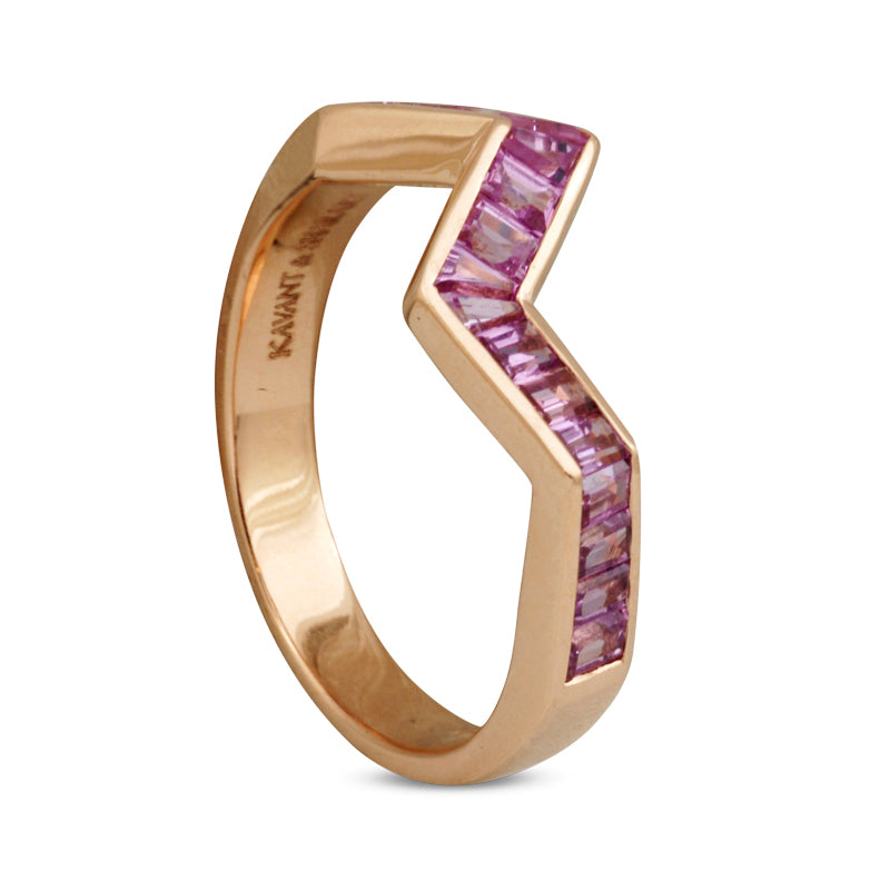 Origami Ziggy Line Pink Sapphire Stacking Ring