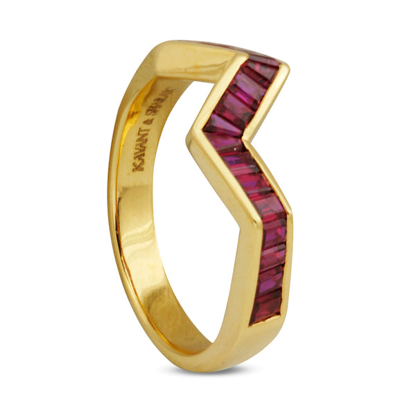 Origami Ziggy Line Ruby Stacking Ring