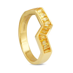 Origami Ziggy Line Yellow Sapphire Stacking Ring