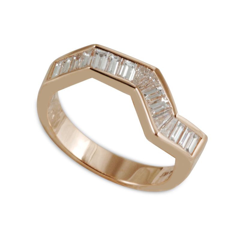 Origami Ziggy Line Rose Gold & Diamond Stacking Ring