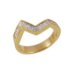 Origami Ziggy Line Yellow Gold & Diamond Stacking Ring