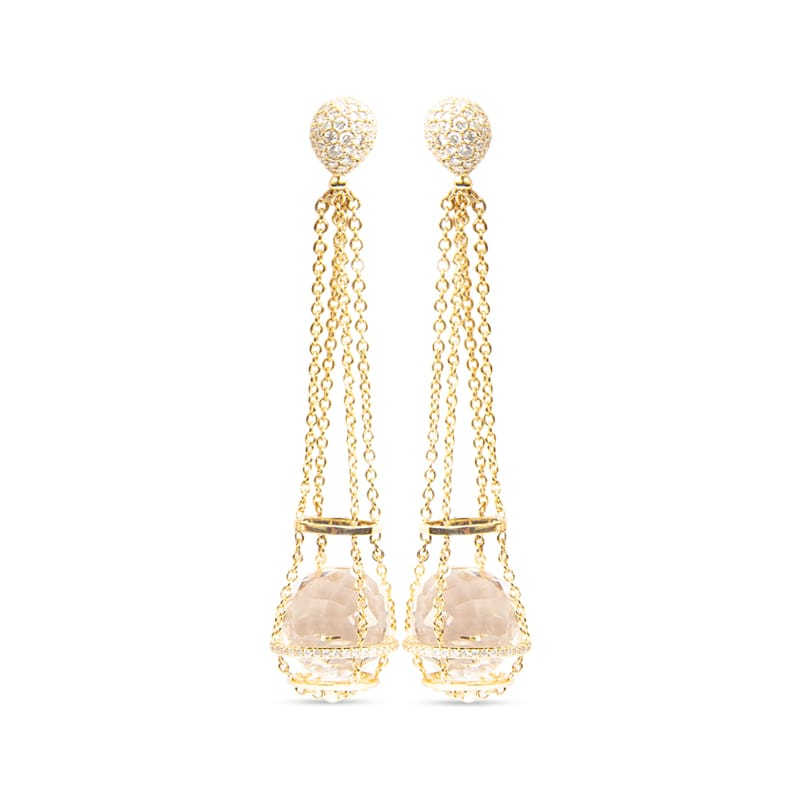 18K yellow gold Katherine Jetter Chain Basket Earrings with Rock Crystal