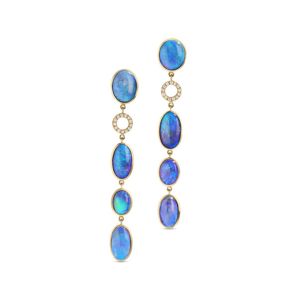 Katherine Jetter Classic Opal Drop Earrings with Diamond Ring