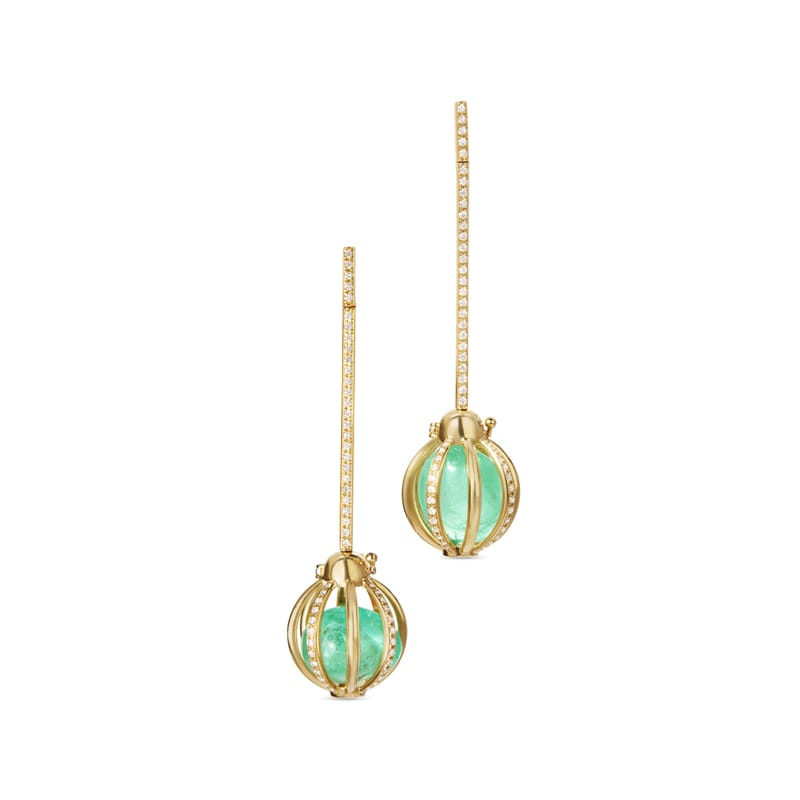 Katherine Jetter Diamond Pavé Cage Bar Earrings with Muzo Emeralds