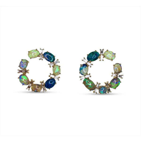 Katherine Jetter Opal and Diamond Loop Earrings