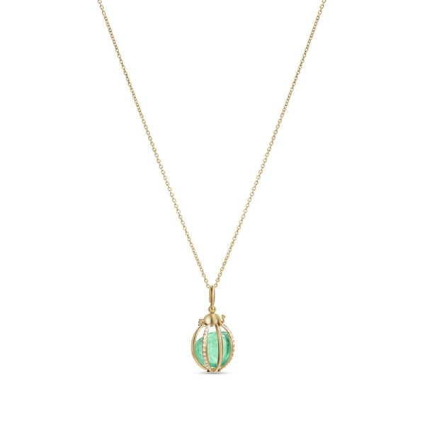 18K Yellow Gold Katherine Jetter Small Cage Pendant With Diamonds and Muzo Emerald