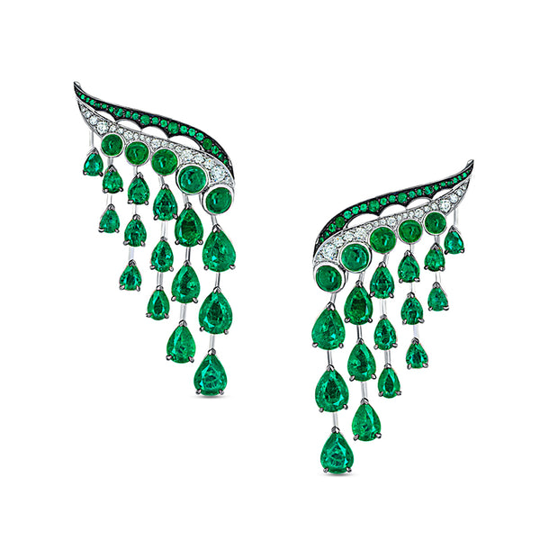 Legends Of Africa Dido Earrings In Diamonds And Emeralds