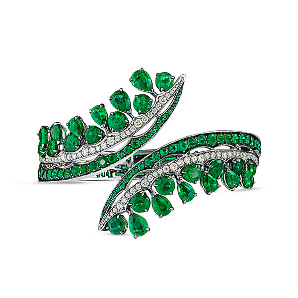 Legends Of Africa Bonetta Bangle In Diamonds And Emeralds