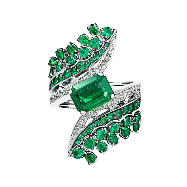 Legends Of Africa Bonetta Ring In Diamonds And Emeralds