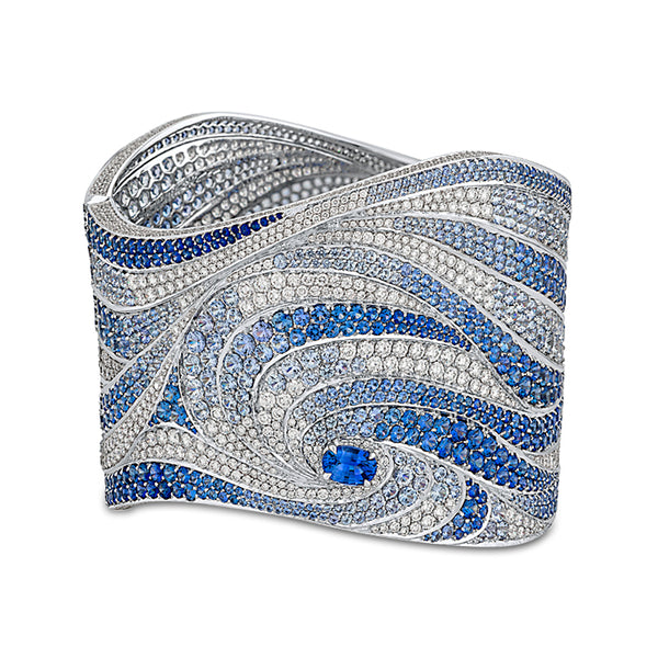 Oceana Bangle In Diamonds And Blue Sapphires