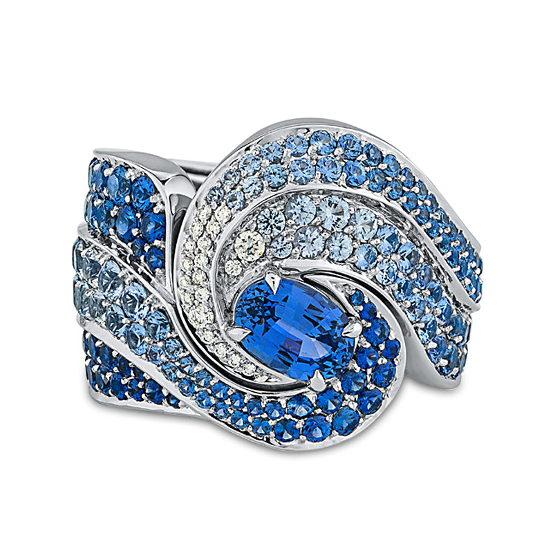 Oceana Ring In Diamonds And Blue Sapphires