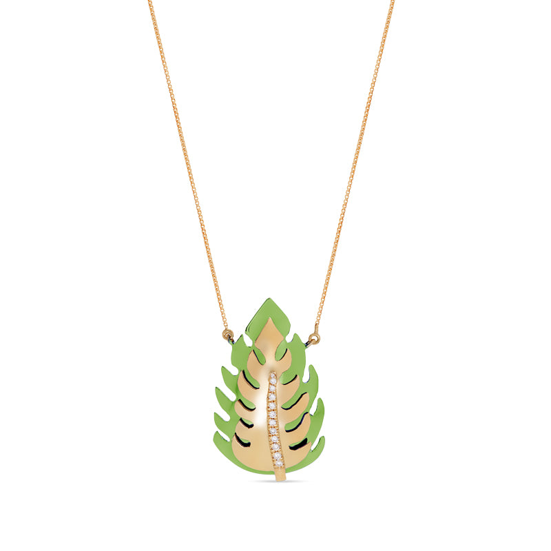 Green Monstera Necklace