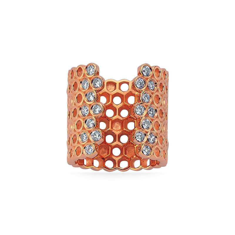 Queen Bee Honeycomb Midi Ring