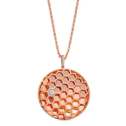 Queen Bee Honeycomb Circle Pendant