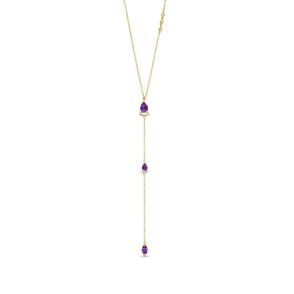 Paige Novick Choker Necklace with Pear Shaped Tanzanite and Diamond Pave Bar