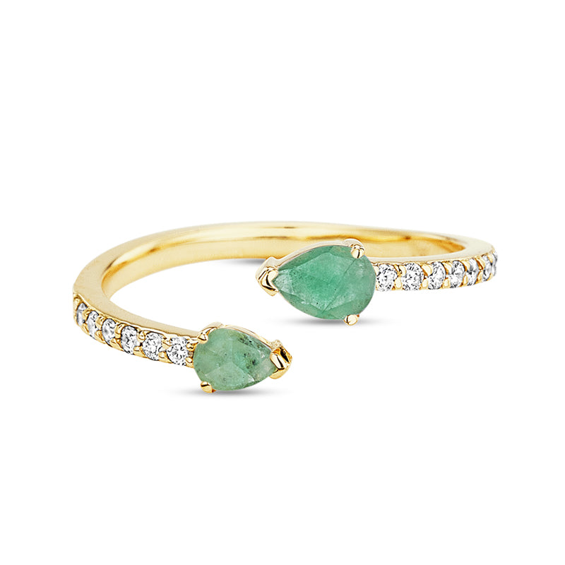 Paige Novick Asymmetrical Diamond Pave Emerald Ring with Two Pear Shaped Gemstone Details