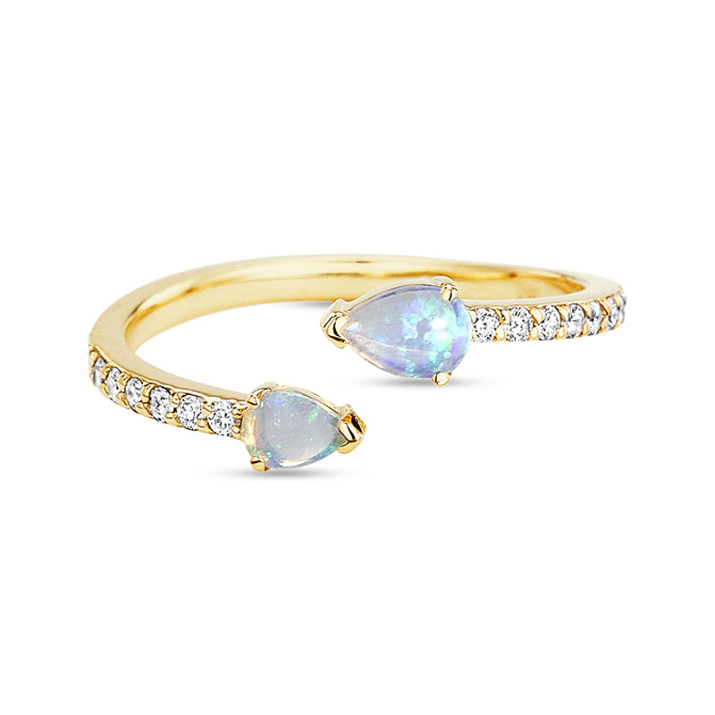 Paige Novick Asymmetrical Diamond Pave Opal Ring with Two Pear Shaped Gemstone Details