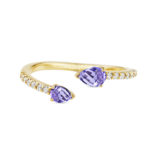 Paige Novick Asymmetrical Diamond Pave Tanzanite Ring with Two Pear Shaped Gemstone Details