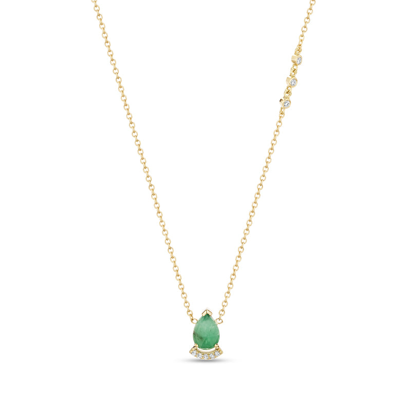 Paige Novick Choker Necklace with Pear Shaped Aquamarine and Diamond Pave Bar