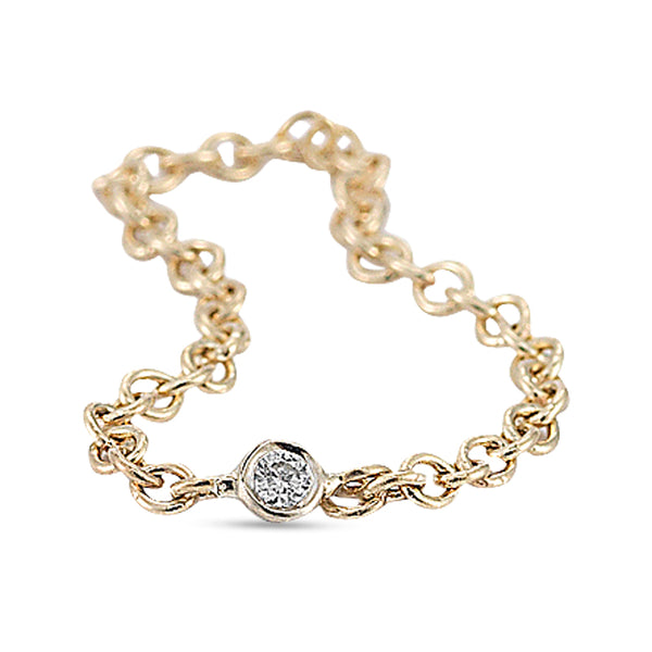 Vale Yellow Gold Diamond Chain Ring