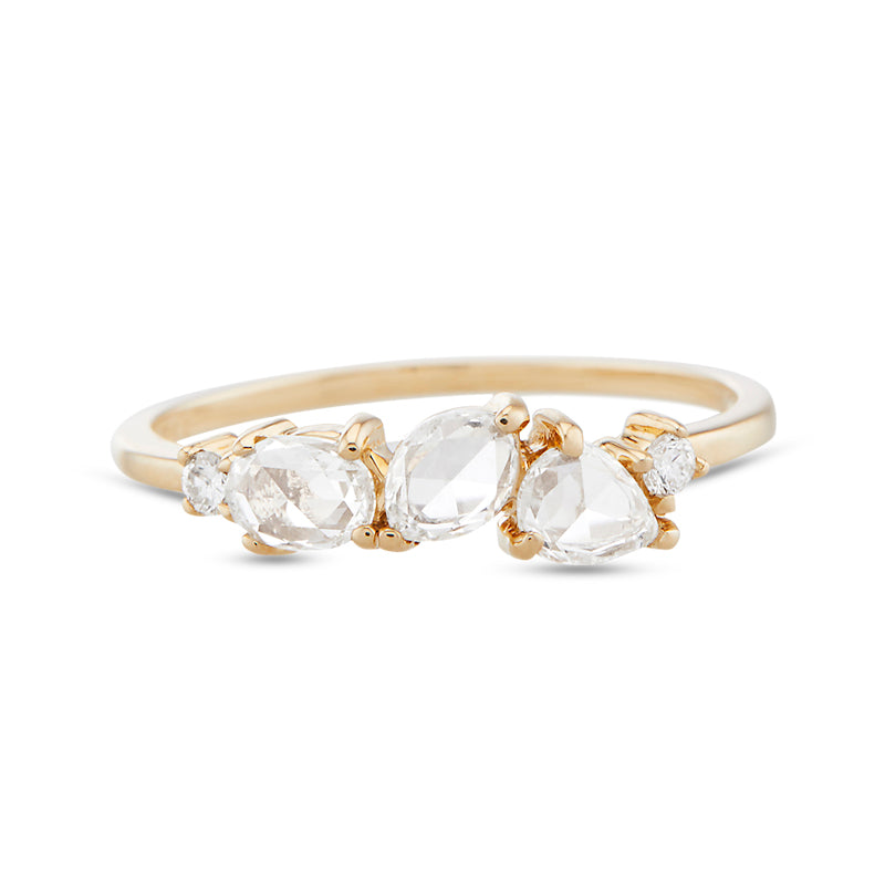 Vale White Rose Cut Diamond Cosmos Ring