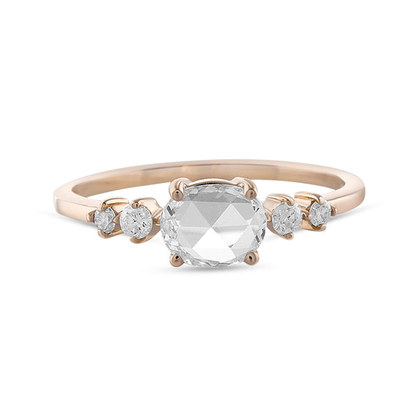 Vale White Rose Cut Diamond Pascale Ring