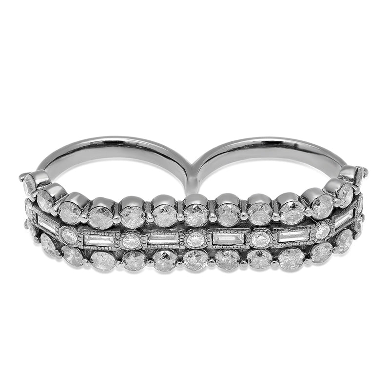 Colette White Gold Double Finger 3D Ring