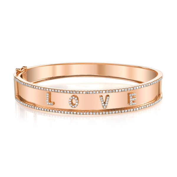 Rose Gold Nameplate Love Bangle