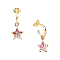 Pink Star Hoop Earrings