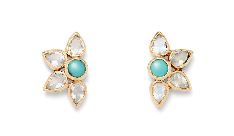 Turqouise and Moonstone Petal Stud Earrings