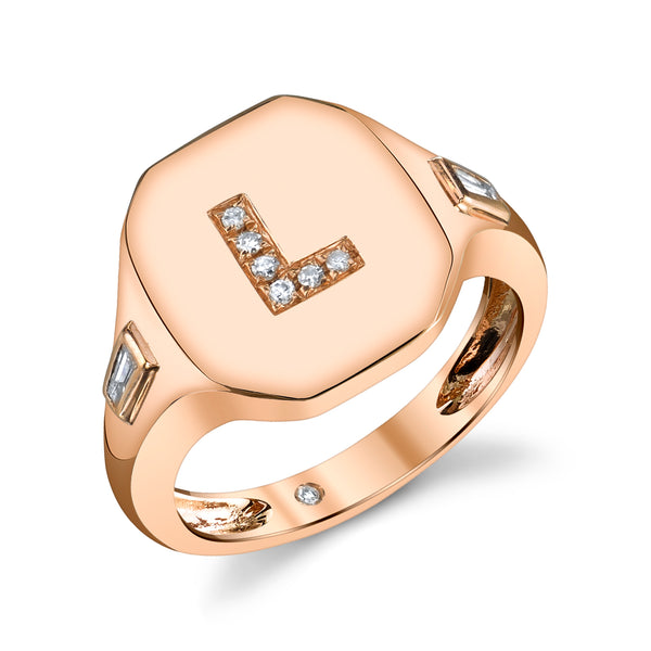 Rose Gold Initial Pinky Ring