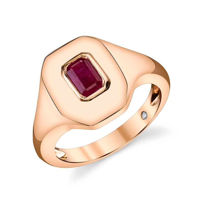 Ruby Baguette Pinky Ring