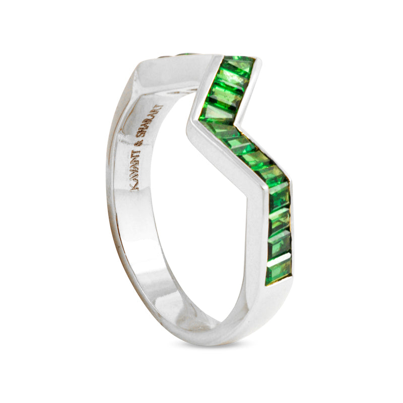 Origami Ziggy Line Tsavorite Stacking Ring