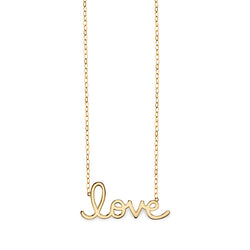 Large Yellow Gold Love Script Necklace