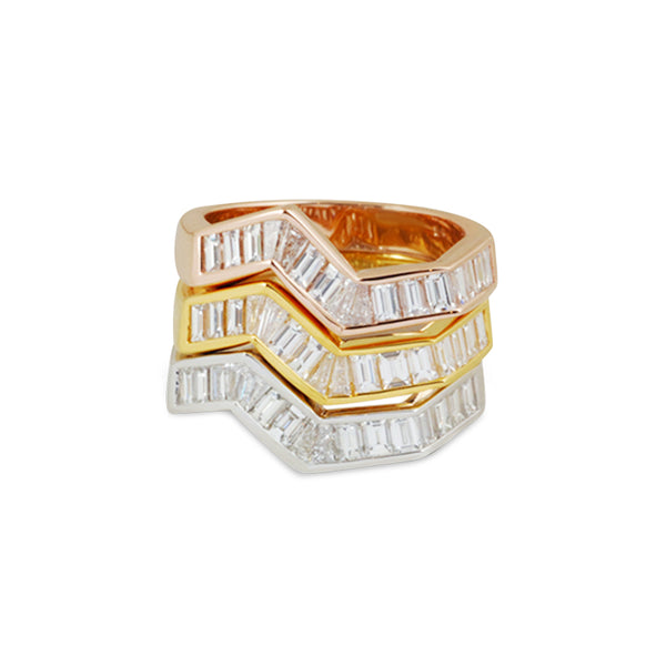 Origami Ziggy Line Diamond Stacking Ring
