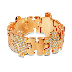 Polished Rose Gold Puzzle Bracelet