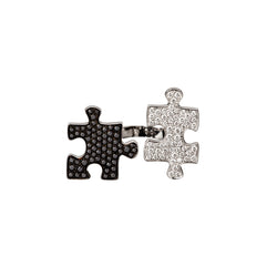 Small Toi & Moi White Gold Diamond Puzzle Ring