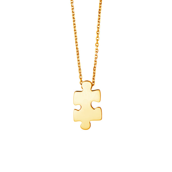 Mini Yellow Gold Puzzle Pendant