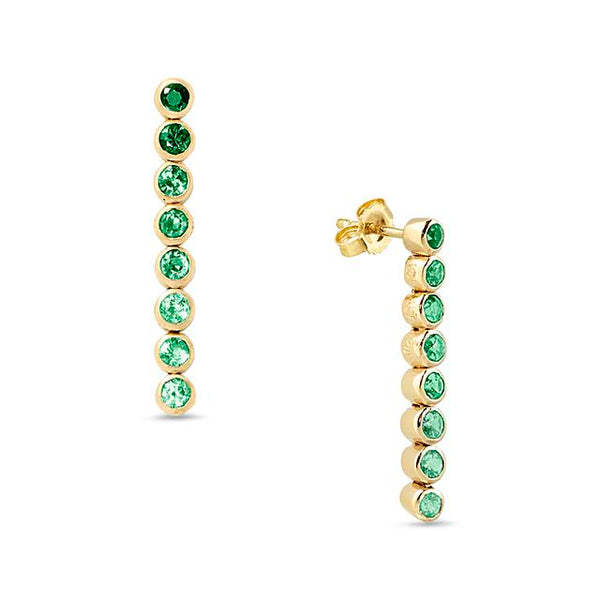 Green Sapphire 8 Drop Earrings