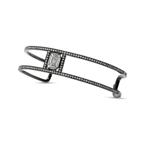 Illusion Diamond Pave & 18K Black Gold Double Cuff